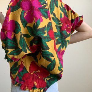 Private Label Tops - Floral Linen Ruffle Wide Sleeve Top